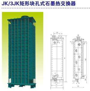 JK, 3JK rectangular block hole graphite heat exchanger